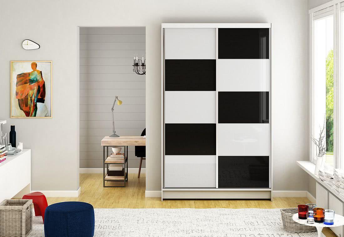 Posuvná šatní skříň HANNAH II, 120x200x58, bílá/bílá-černá