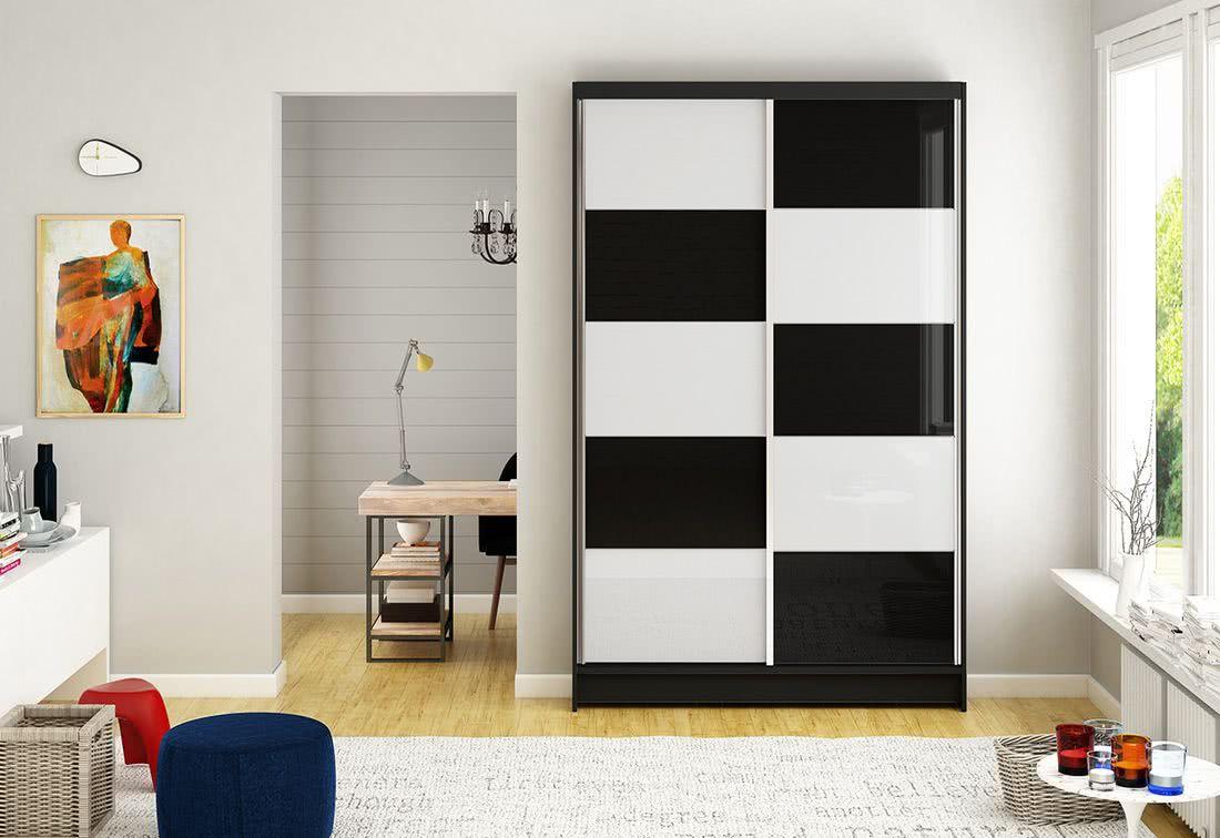 Posuvná šatní skříň HANNAH II, 120x200x58, černá/bílá-černá