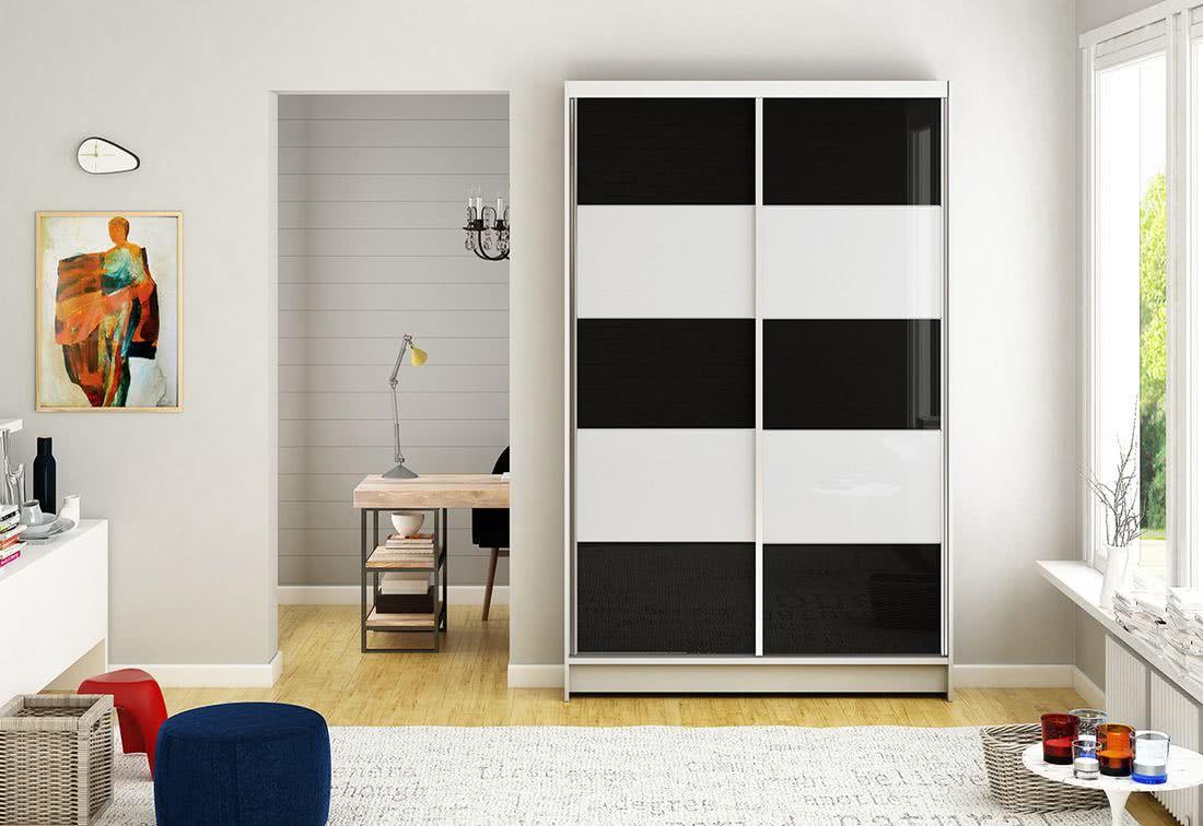 Posuvná šatní skříň HANNAH III, 120x200x58, bílá/černá-bílá