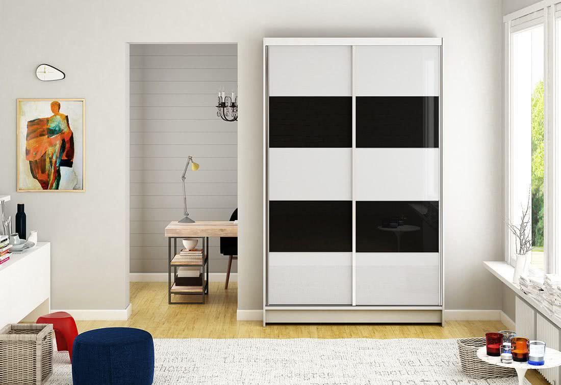 Posuvná šatní skříň HANNAH IV, 120x200x58, bílá/bílá-černá