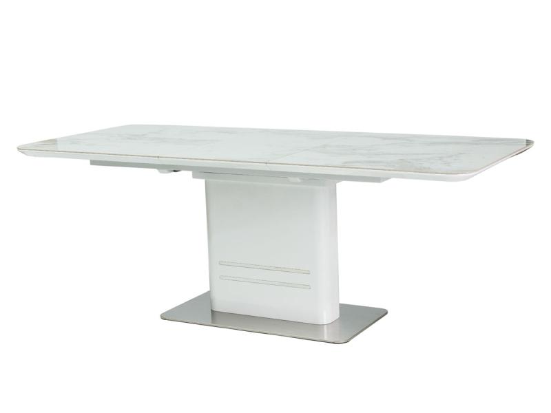 Jídelní stůl CARRIE CERAMIC, 76x90x160-210, mramor/bílý lesk