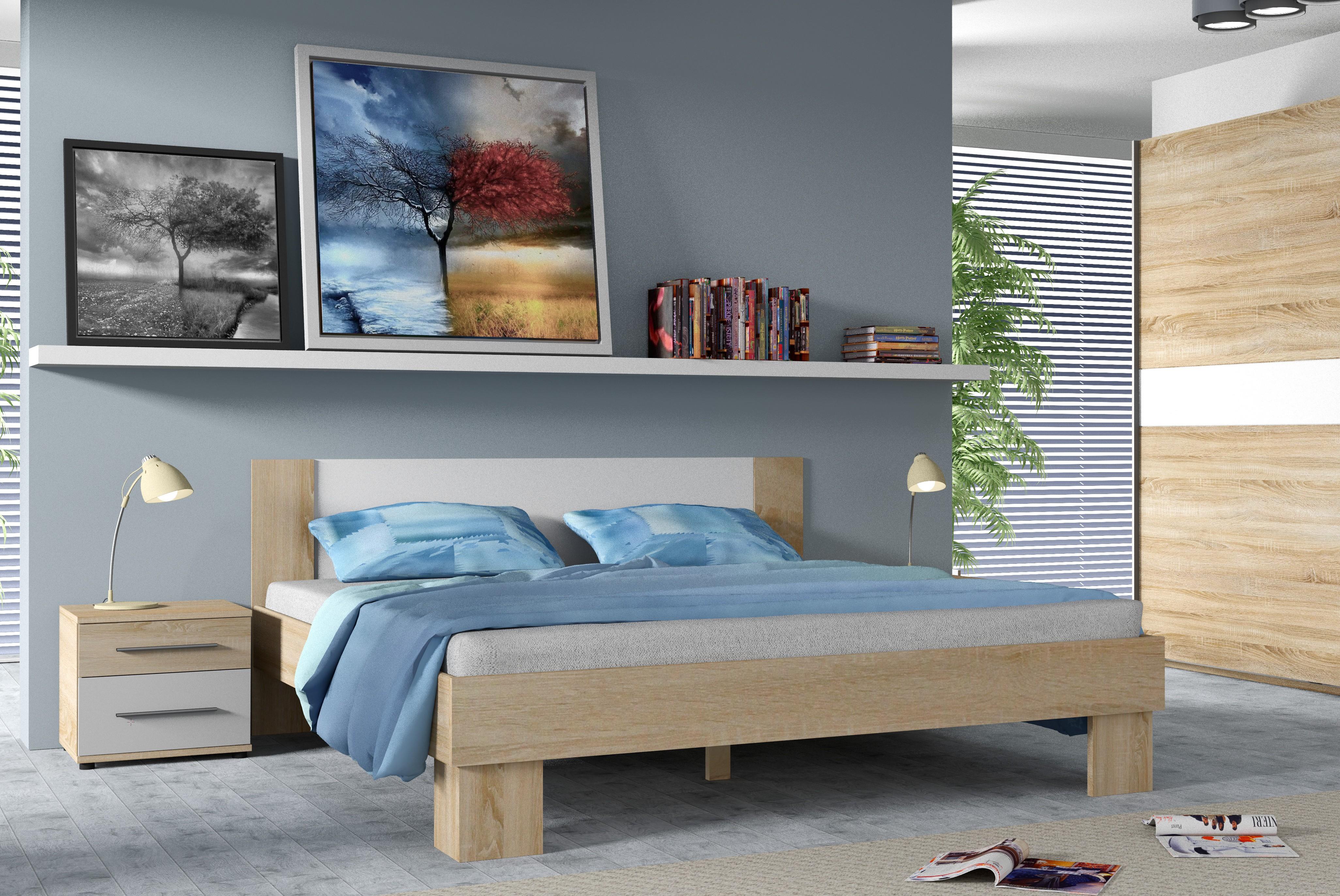 Manželská postel COCOA, 160x200, dub Sonoma/bílá