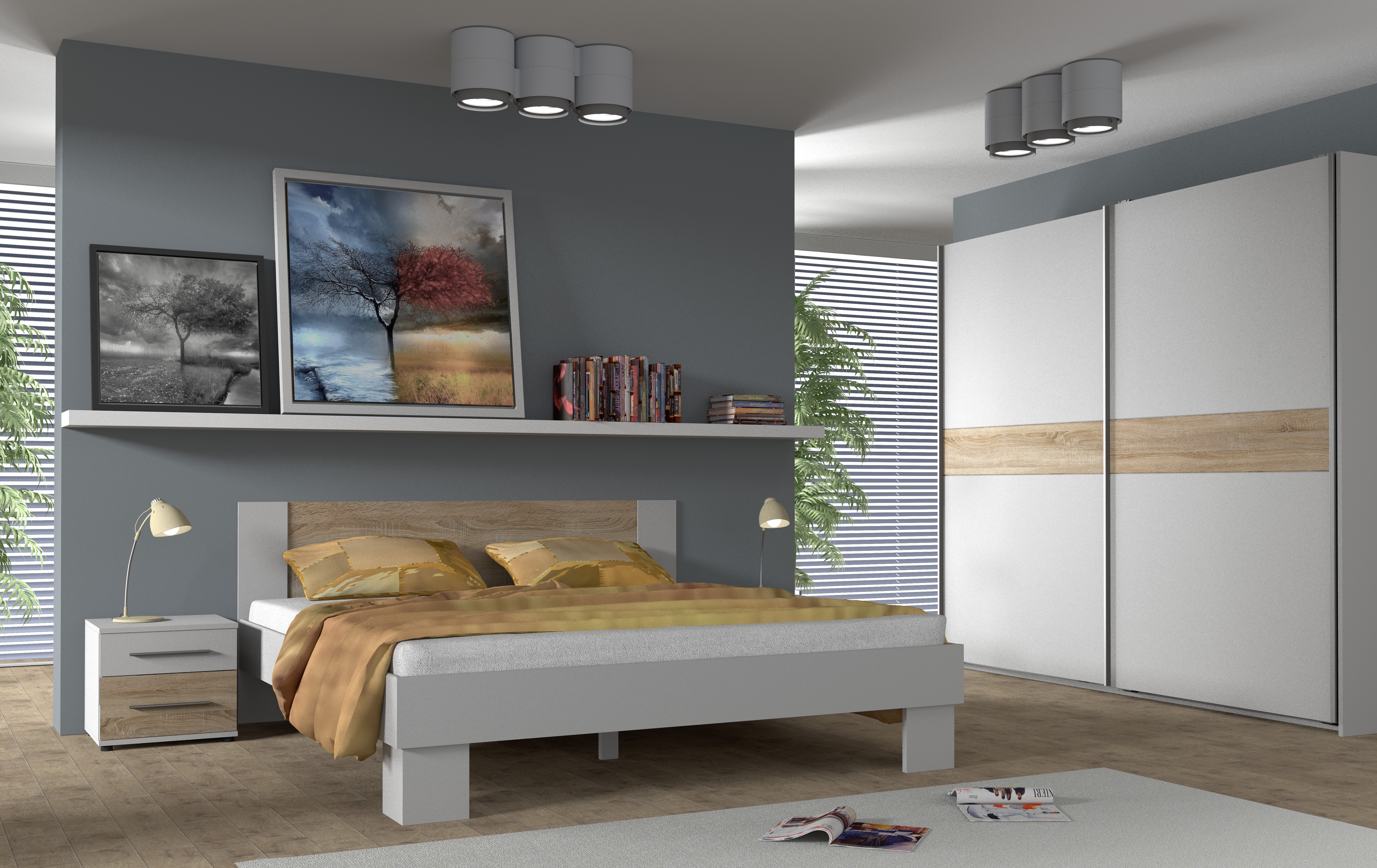 Ložnicová sestava COCOA, postel + rošt 180x200, Bílá/dub Sonoma
