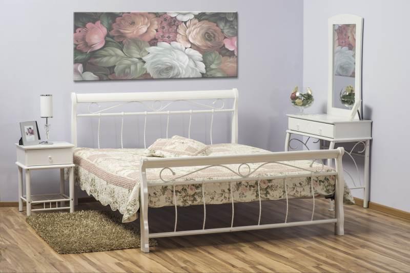 Dřevěná postel VENA 2 + rošt, 180x200, bílá