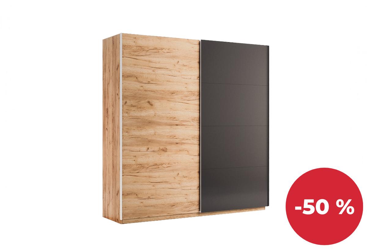 Posuvná šatní skříň DOTA, 200x211x61,5, dub Kraft/šedá