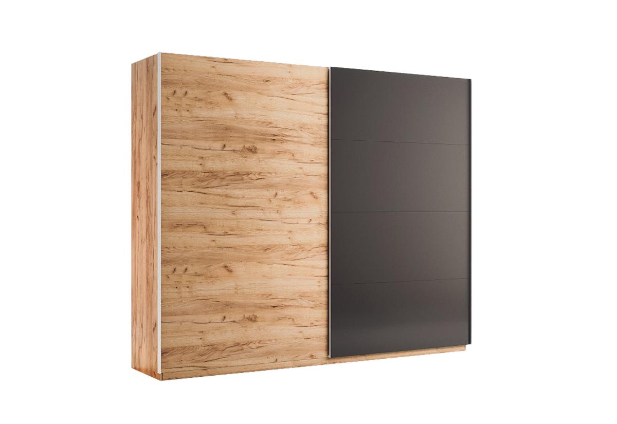 Posuvná šatní skříň DOTA, 250x211x61,5, dub Kraft/šedá