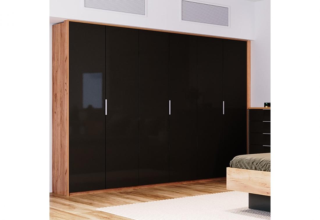 Šestidveřová šatní skříň DOTA, 274,2x213,2x60, dub Kraft/šedá