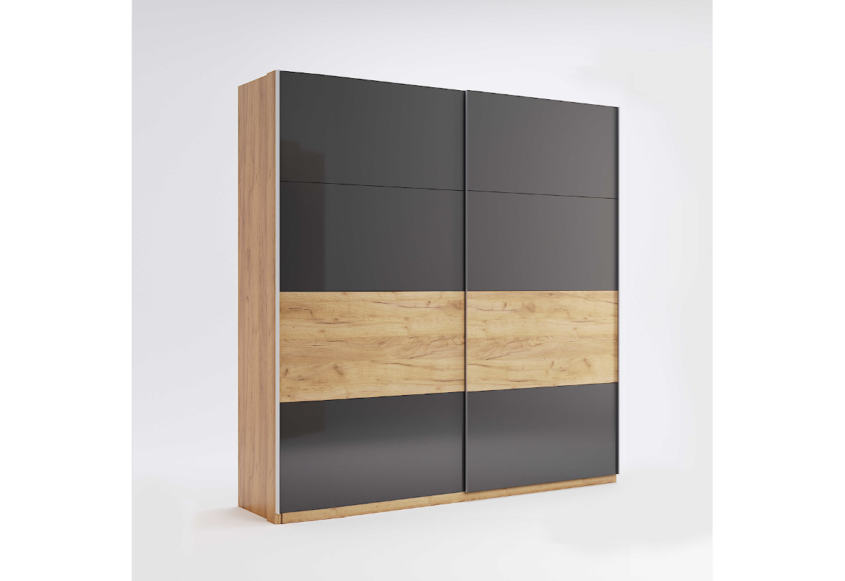 Posuvná šatní skříň ROMANO, 200x211x61,5, dub Kraft/šedá