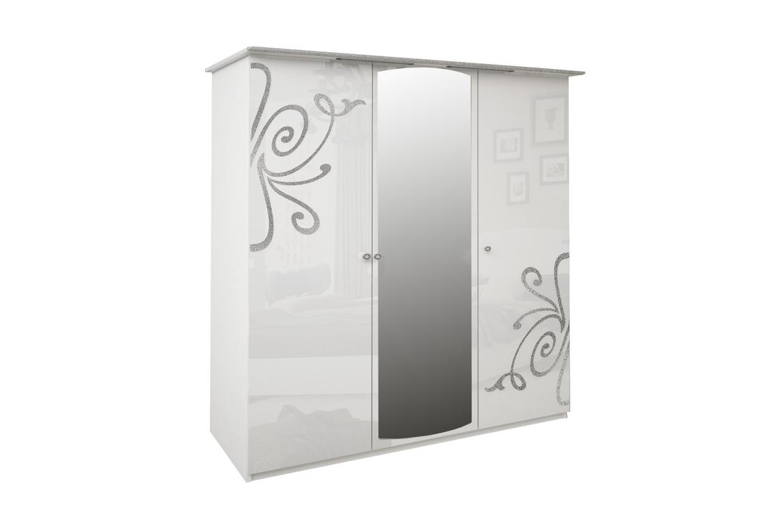 Třídveřová šatní skříň GLOE se zrcadlem, 139x212,5x63, bílá lesk