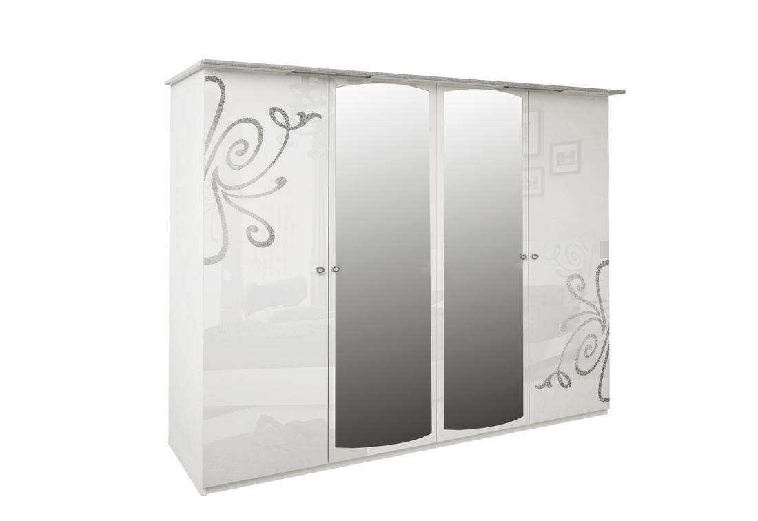 Čtyřdveřová šatní skříň GLOE se zrcadlem, 184x212,5x63, bílá lesk