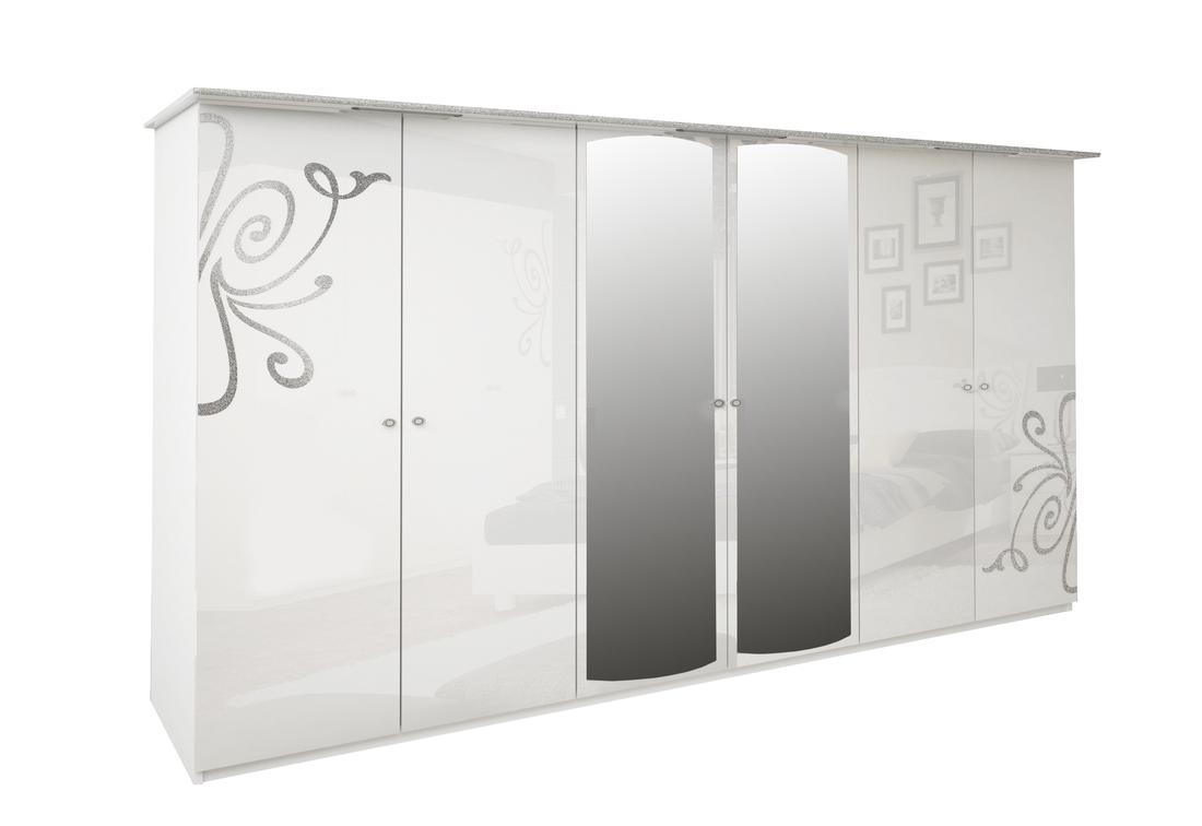 Šestidveřová šatní skříň GLOE se zrcadlem, 274x212,5x63, bílá lesk