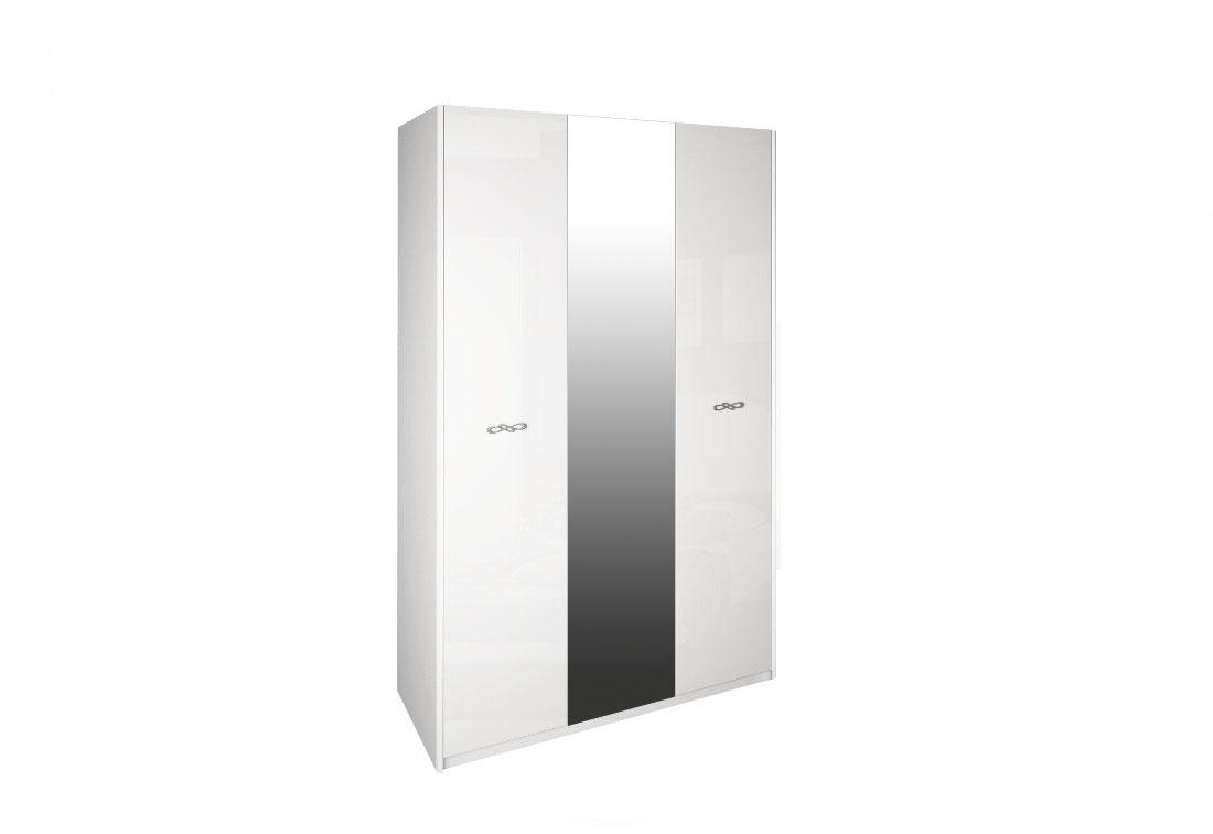 Třídveřová šatní skříň SUMMER se zrcadlem, 138x225x55, bílá lesk