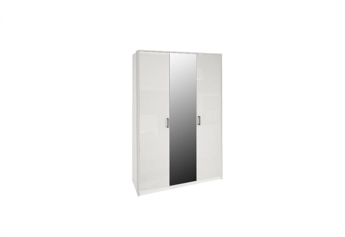 Třídveřová šatní skříň MARON se zrcadlem, 138x212,5x55, bílá lesk