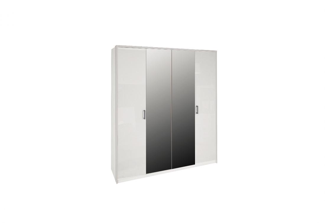 Čtyřdveřová šatní skříň MARON se zrcadlem, 183x212,5x55, bílá lesk