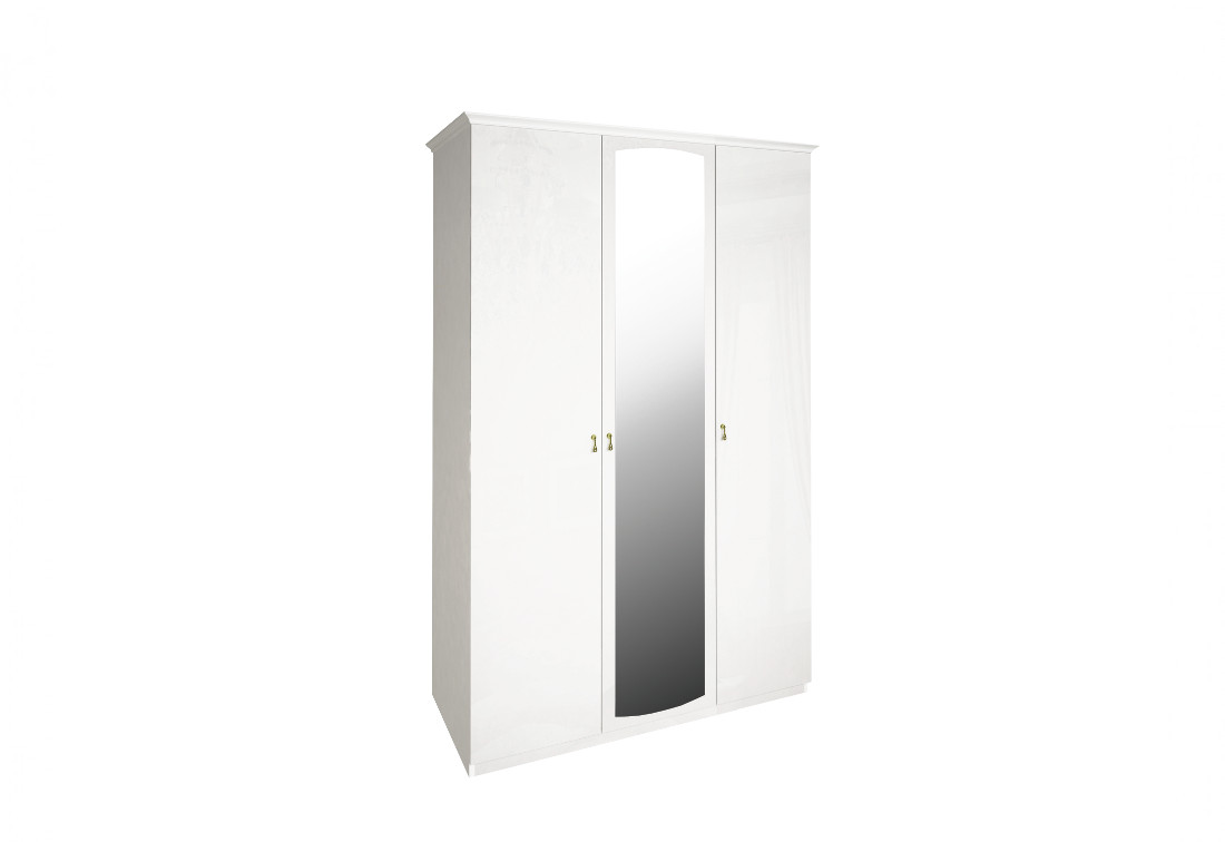 Třídveřová šatní skříň PAPER se zrcadlem, 145x215x59,5, bílá lesk