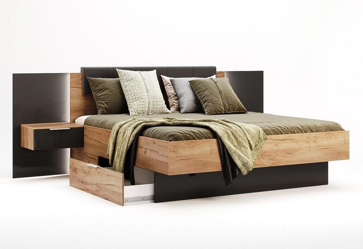 Manželská postel DOTA + rošt + matrace MORAVIA + deska s nočními stolky, 180x200, dub Kraft/šedá