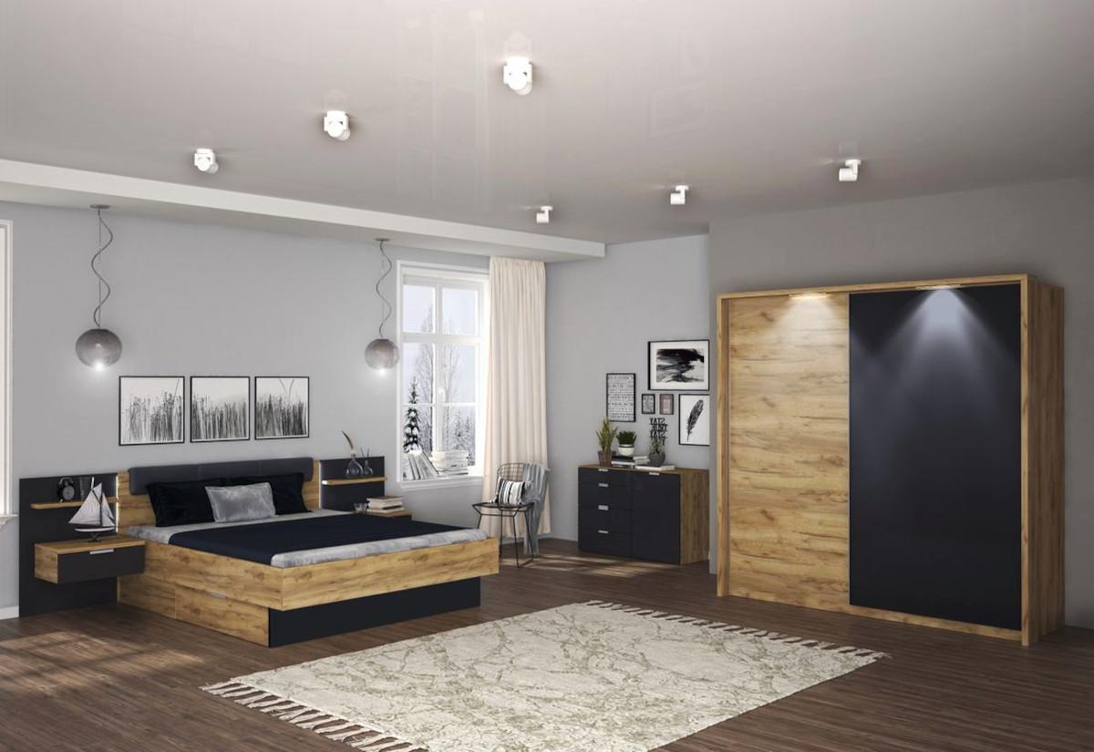 Ložnice DOTA - postel 180x200+rošt+matrace MORAVIA+deska s nočními stolky+posuvná skříň 200+komoda 1 D, 4 šuplíky, dub Kraft/šedá