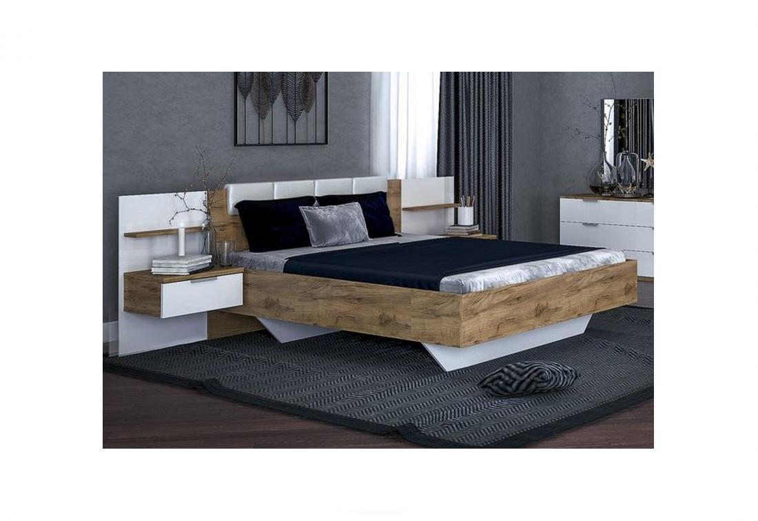 Manželská postel SPIRIT + rošt + matrace DE LUX + deska s nočními stolky, 160x200, dub Kraft/bílá lesk