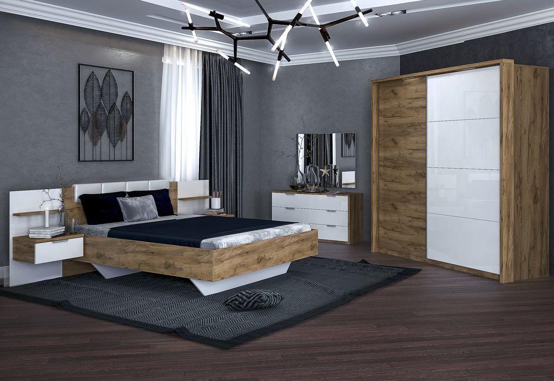Ložnice SPIRIT - postel 160x200+rošt+matrace MORAVIA+deska s nočními stolky+posuvná skříň 200+komoda 3 šuplíky+zrc. 100, dub Kraft/bílá lesk