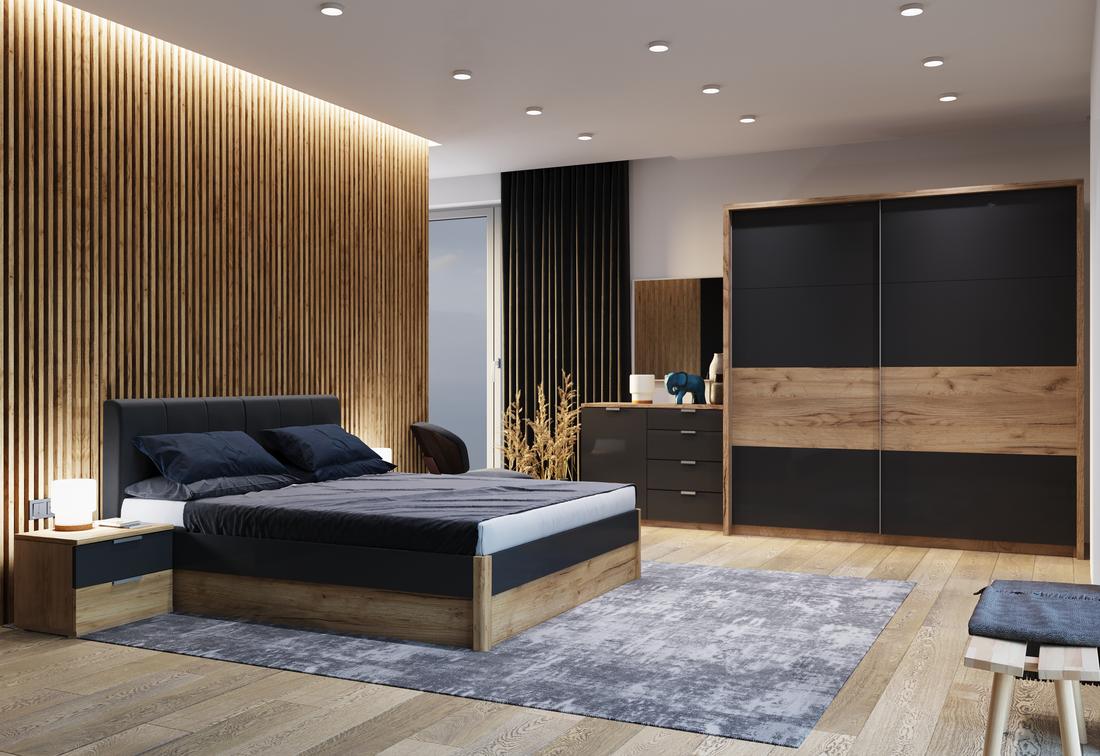 Ložnice ROMANO - postel 160x200+rošt+matrace MORAVIA+2x noč. stolek+posuvná skříň 200+komoda 1 D, 4 šuplíky+zrc. 100, dub Kraft/šedá