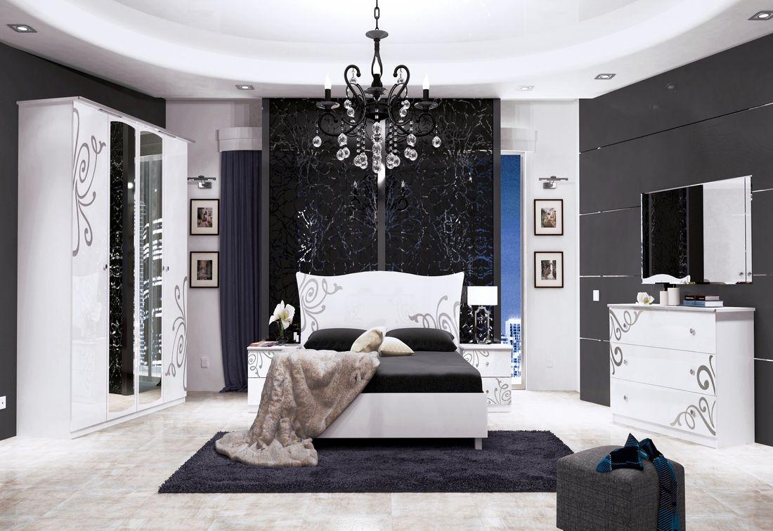 Ložnice GLOE - postel 160x200+rošt+matrace MORAVIA+2x noč. stolek+čtyřdveřová skříň se zrc.+komoda 3 šuplíky+zrc. 100, bílá lesk