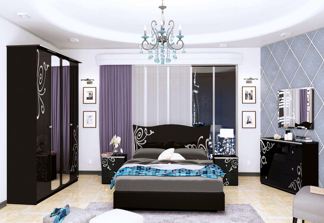 Ložnice GLOE - postel 180x200+rošt+matrace MORAVIA+2x noč. stolek+čtyřdveřová skříň se zrc.+komoda 3 šuplíky+zrc. 100, černá lesk