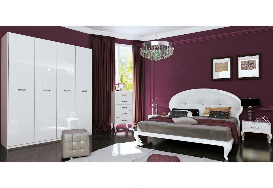 Ložnice SUMMER - postel 160x200+rošt+matrace DE LUX+měkký záhlavník+2x noč. stolek 1 šuplík+čtyřdveřová skříň bez zrcadla+komoda 5 šuplíků, bílá lesk