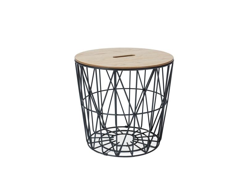 Konferenční stolek KAYN, 48x48, dub/černá