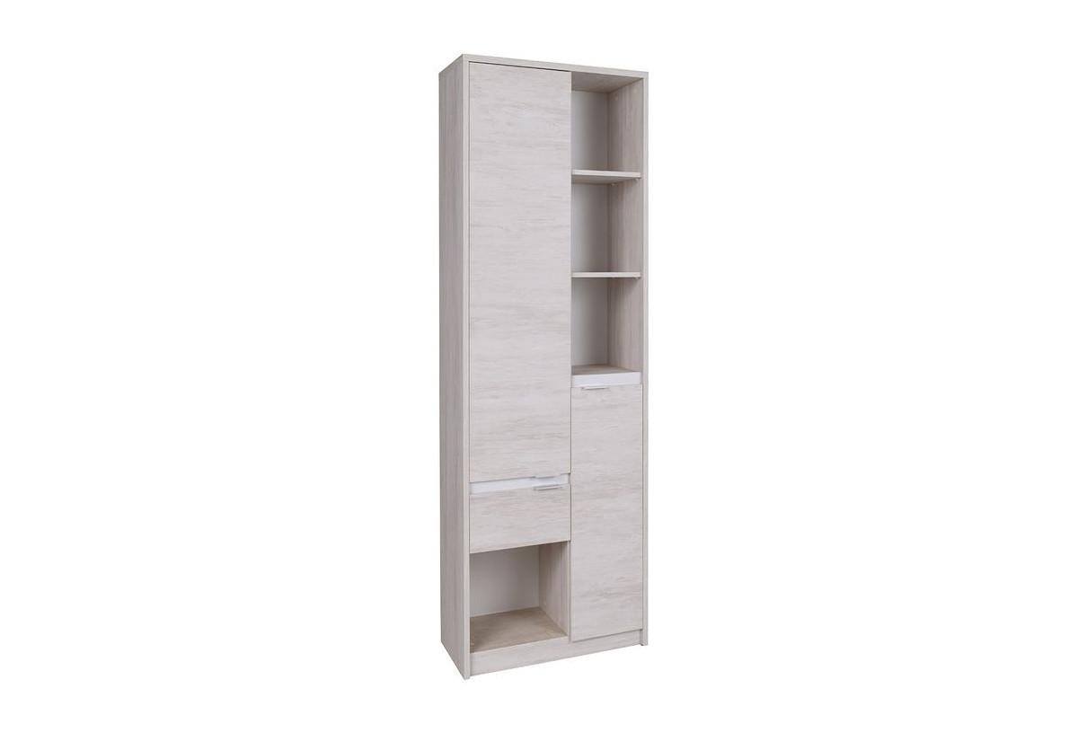 Regál KOLOREDO R2D1SZ, 80x200x40, dub bílý/bílá lesk