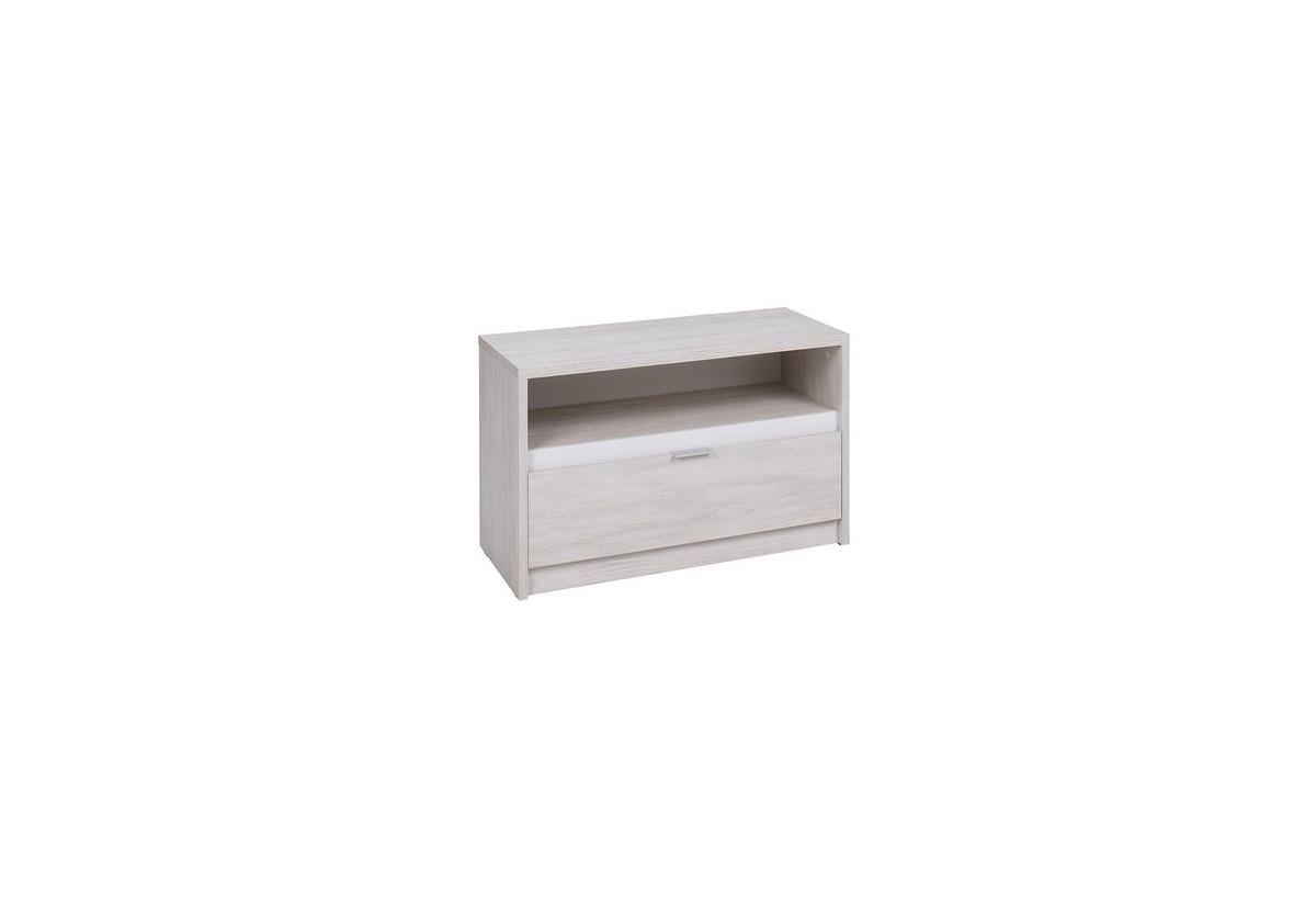 TV stolek KOLOREDO RTV1SZ, 90x46x40, dub bílý/bílá lesk