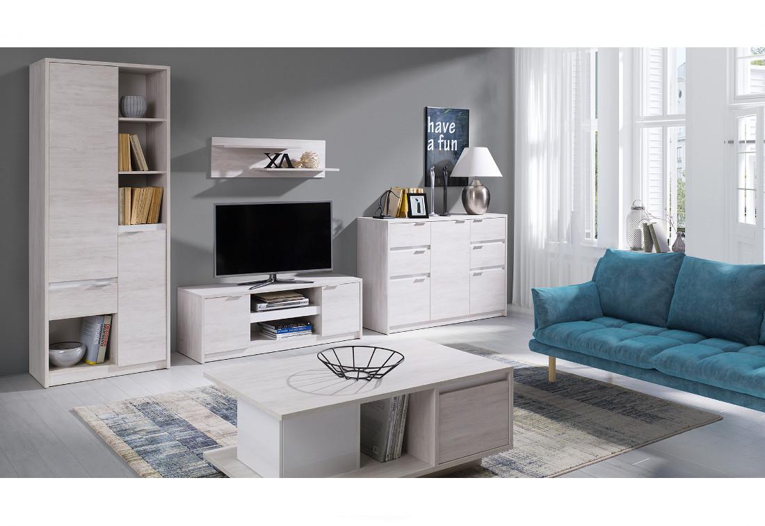 Obývací stěna KOLOREDO 1 - regál + TV stolek RTV2D + komb. komoda + konf. stolek + polička, dub bílý/bílá lesk