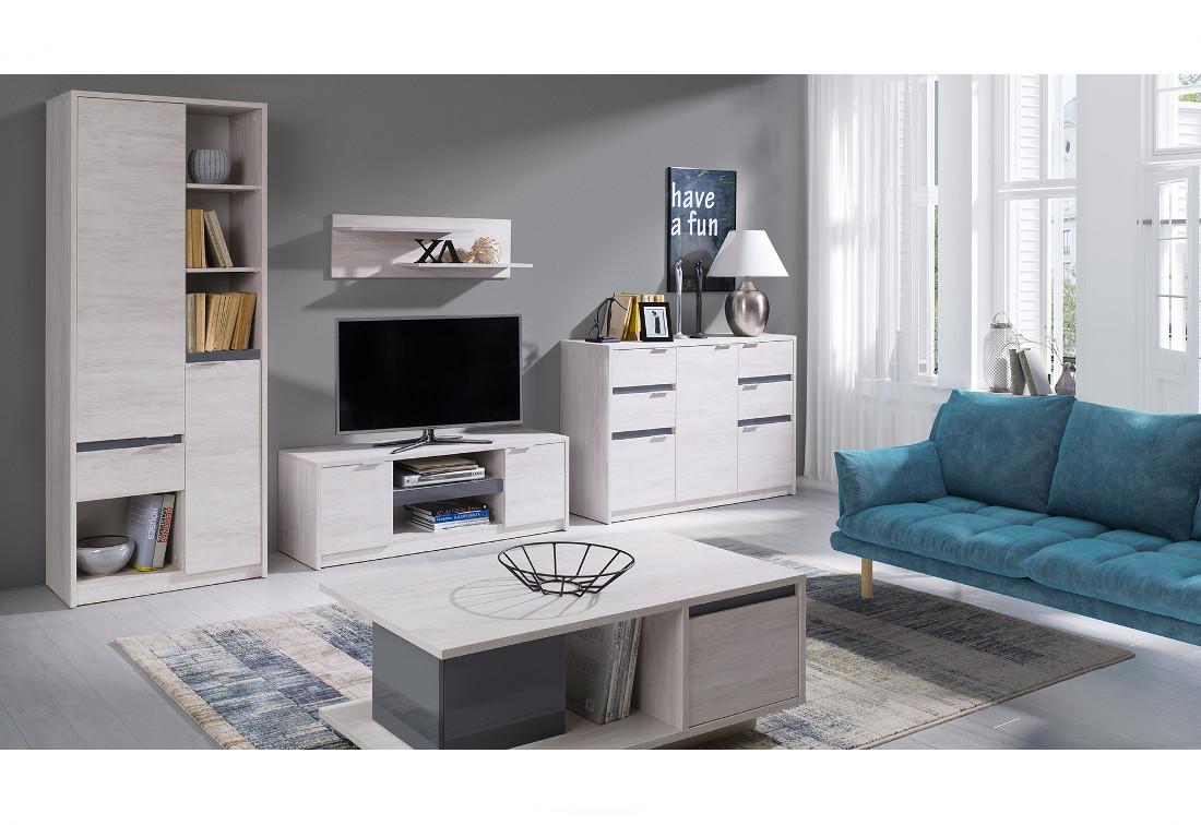 Obývací stěna KOLOREDO 1 - regál + TV stolek RTV2D + komb. komoda + konf. stolek + polička, dub bílý/grafit lesk