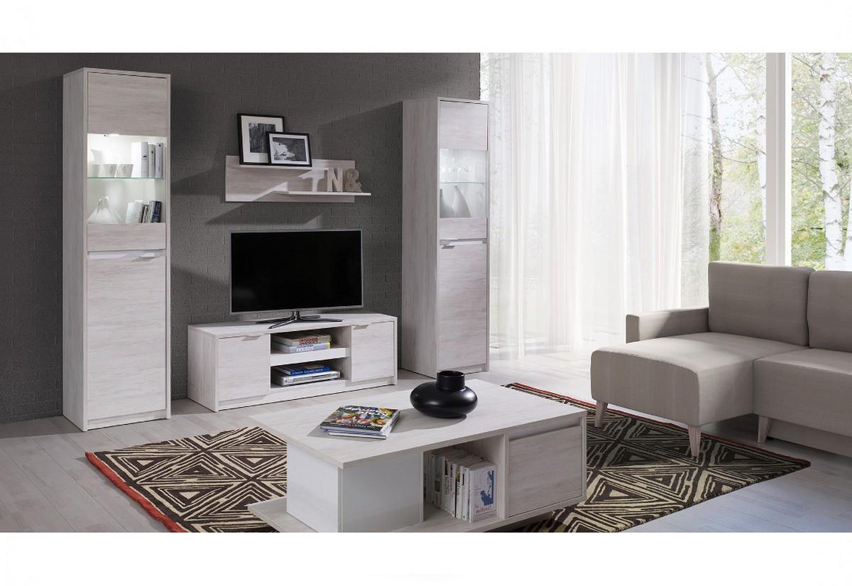 Obývací stěna KOLOREDO 2 - TV stolek RTV2D + 2x vitrína + konf. stolek + polička, dub bílý/bílá lesk
