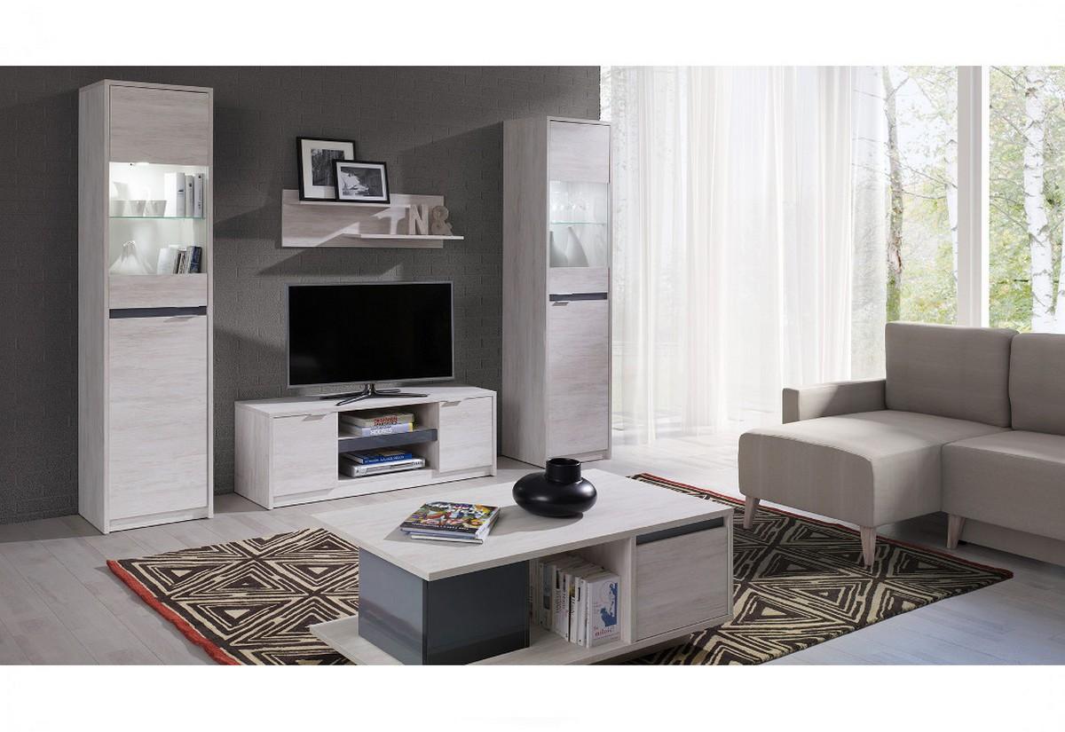 Obývací stěna KOLOREDO 2 - TV stolek RTV2D + 2x vitrína + konf. stolek + polička, dub bílý/grafit lesk