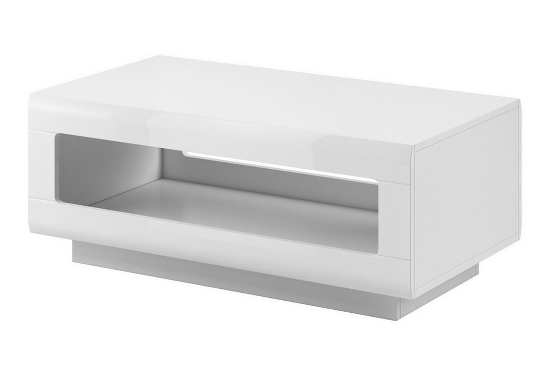 Konferenční stolek LOLA, 110x44x60, bílá/bílá lesk