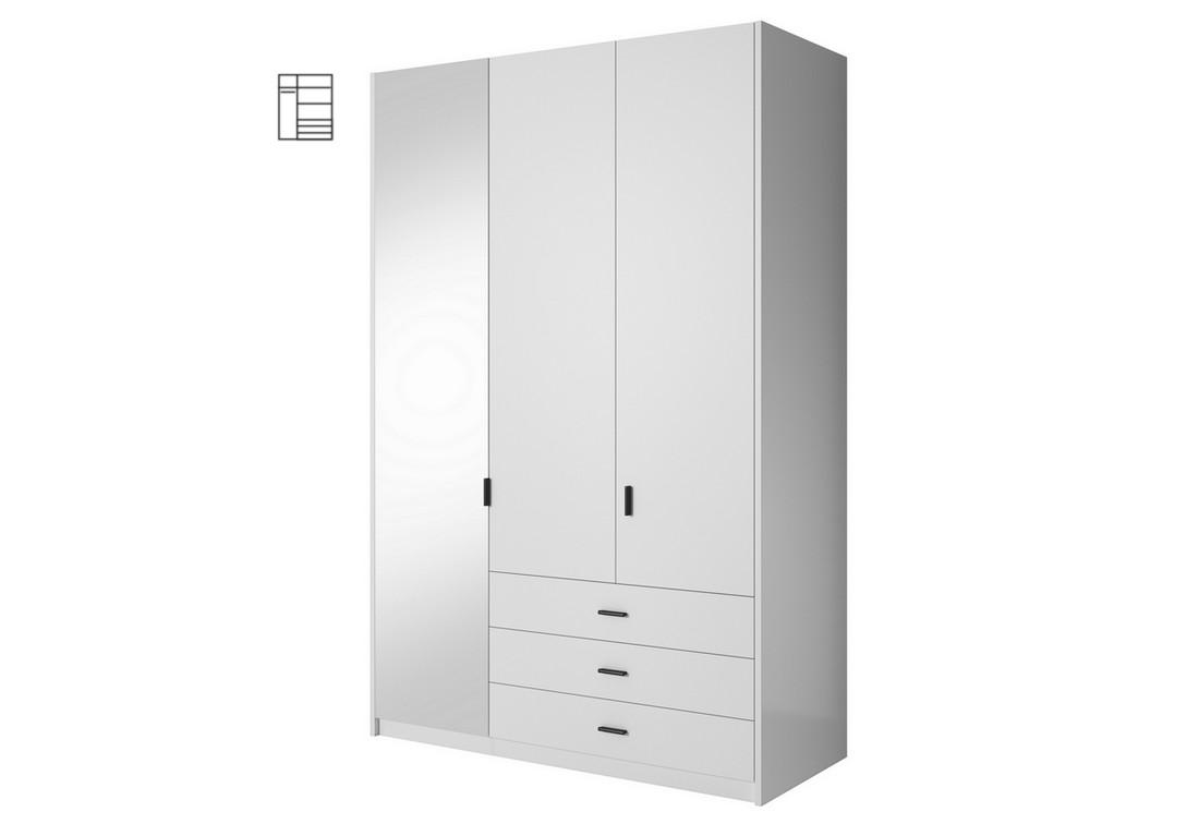 Šatní skříň MEGHAN se zrcadlem, 138x213x60, bílá