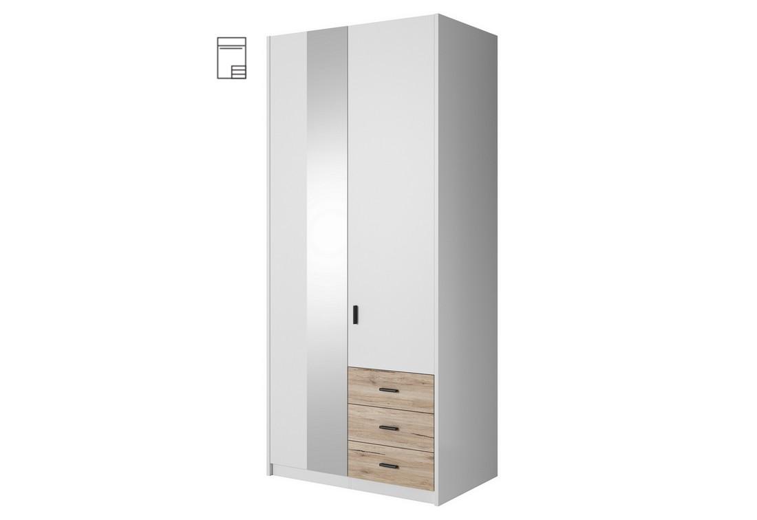 Šatní skříň MEGHAN se zrcadlem, 94x213x60, bílá/San remo
