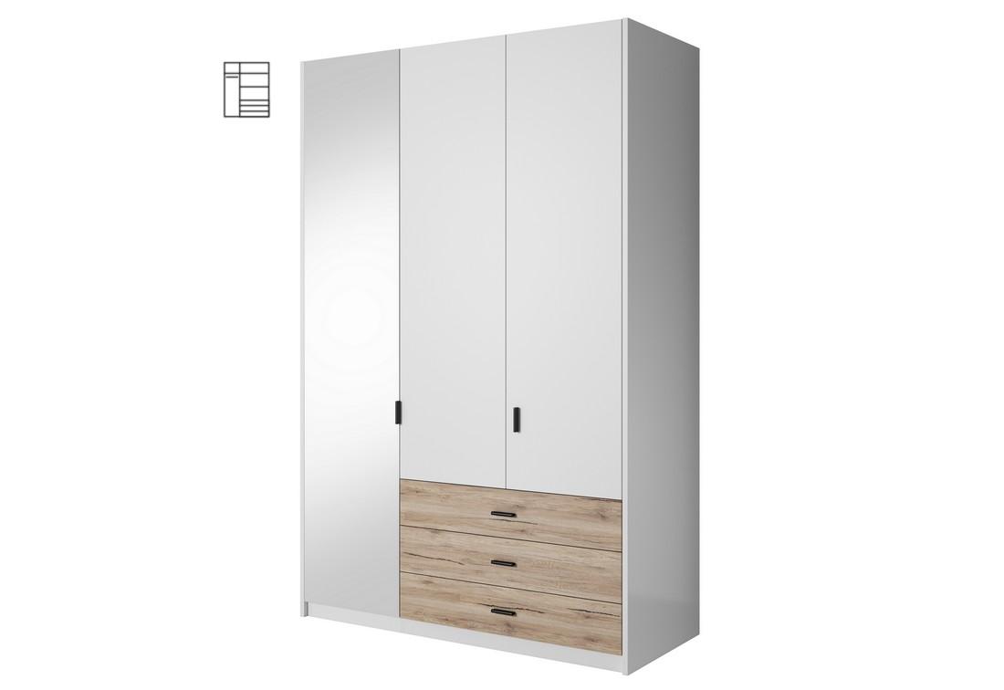 Šatní skříň MEGHAN se zrcadlem, 138x213x60, bílá/San remo