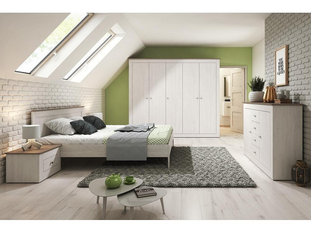 Ložnicová sestava CHANTAL, postel + rošt + matrace DE LUX, 180x200, borovice andersen/sonoma Truffle
