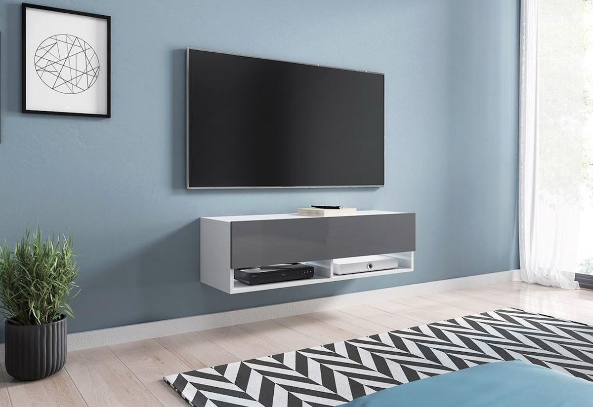 TV stolek MENDES A 100, 100x30x32, bílá/šedá lesk, s LED osvětlením