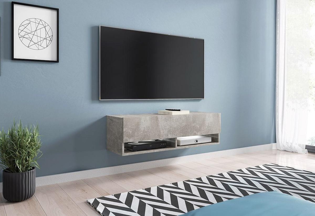 TV stolek MENDES A 100, 100x30x32, beton, s LED osvětlením