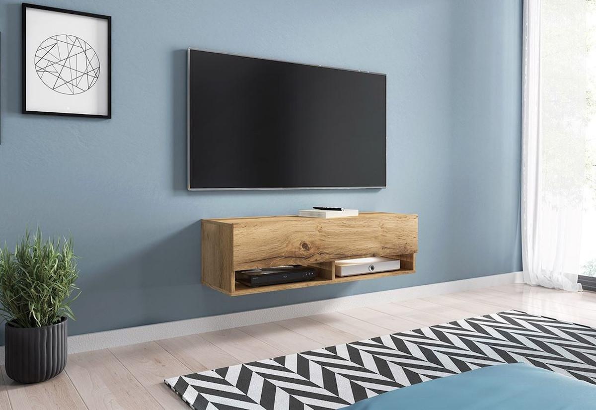 TV stolek MENDES A 100, 100x30x32, dub Wotan, s LED osvětlením