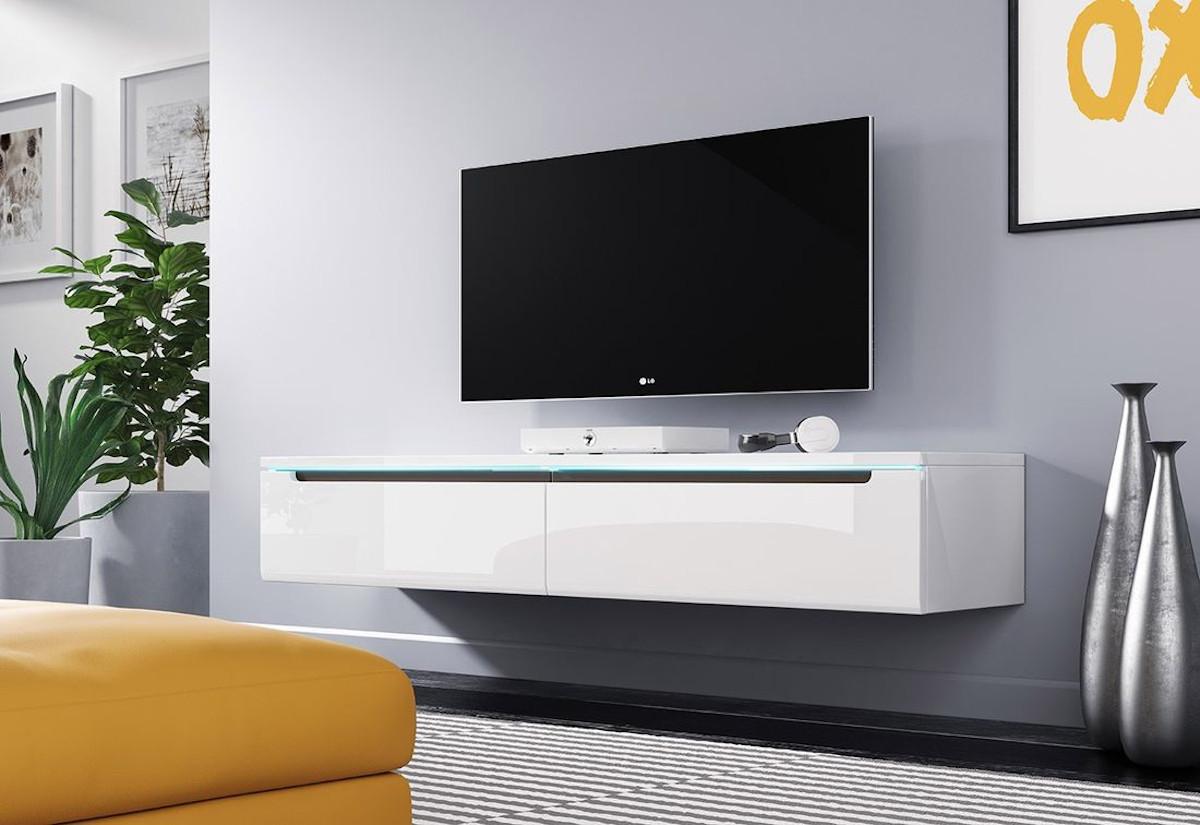 TV stolek MENDES DES I 140, 140x24x33, bílá lesk, bez LED osvětlení