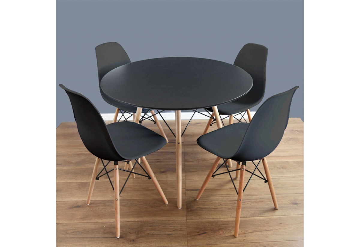 Jídelní sestava GULDEN, stůl + 4x židle, černá/buk