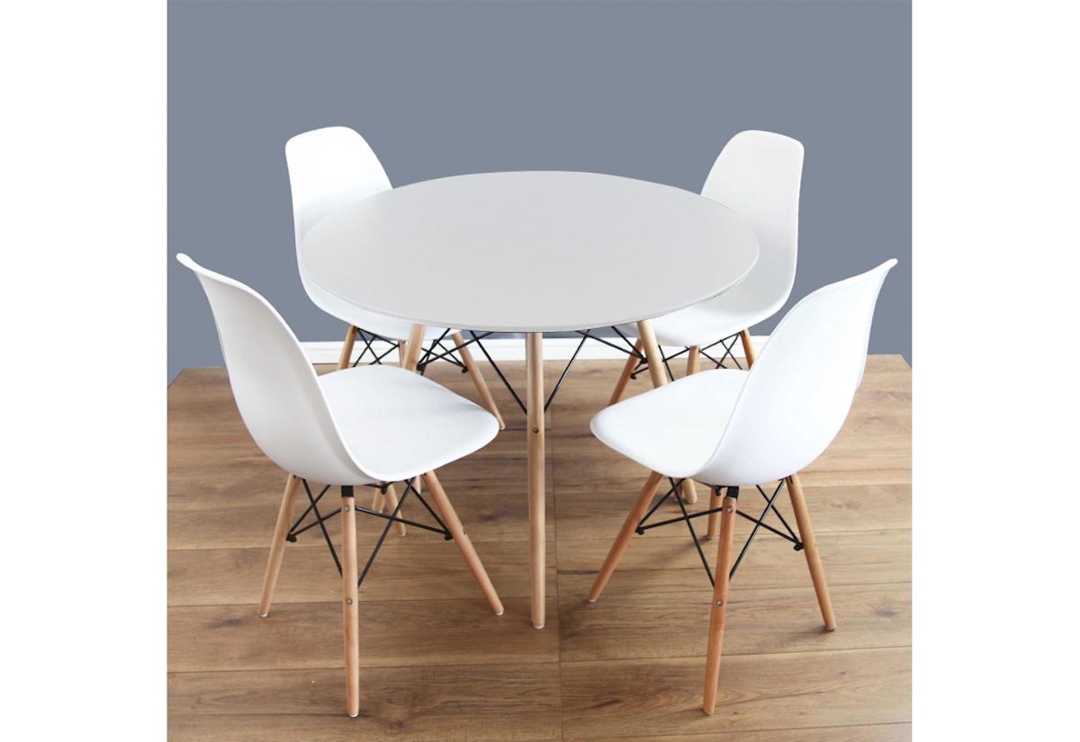 Jídelní sestava GULDEN, bílý stůl + 4x bílá židle