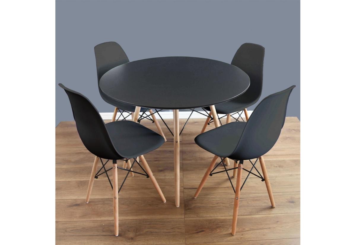 Jídelní sestava GULDEN, černý stůl + 4x černá židle