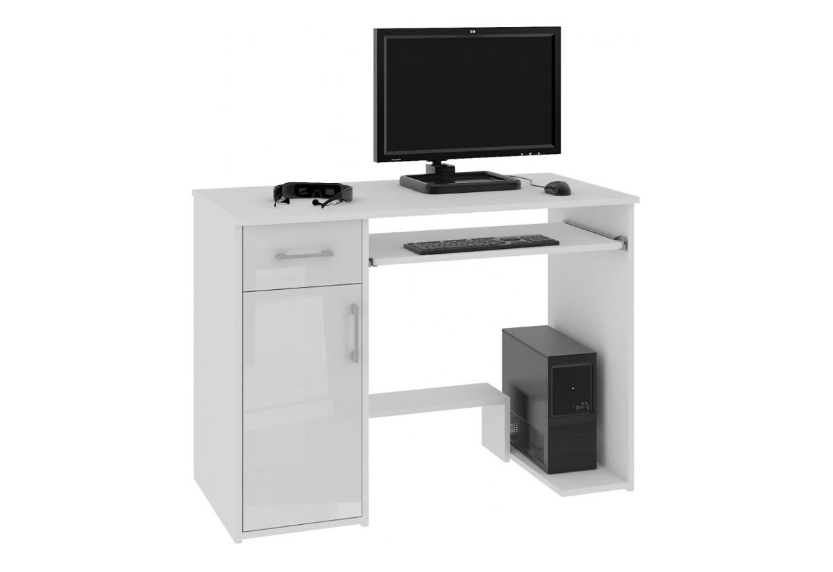 Psací stůl LAY, 90x74x50, bílá/bílá lesk