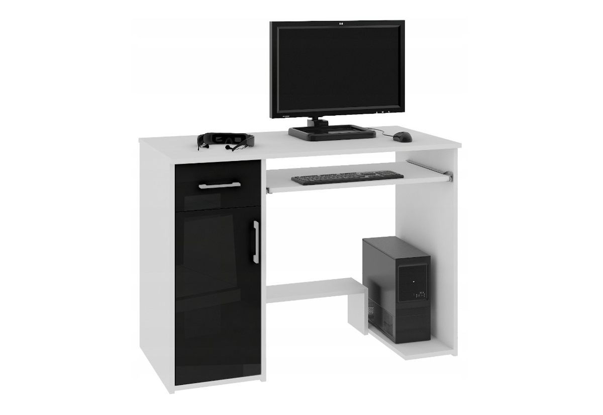 Psací stůl LAY, 90x74x50, bílá/černá lesk