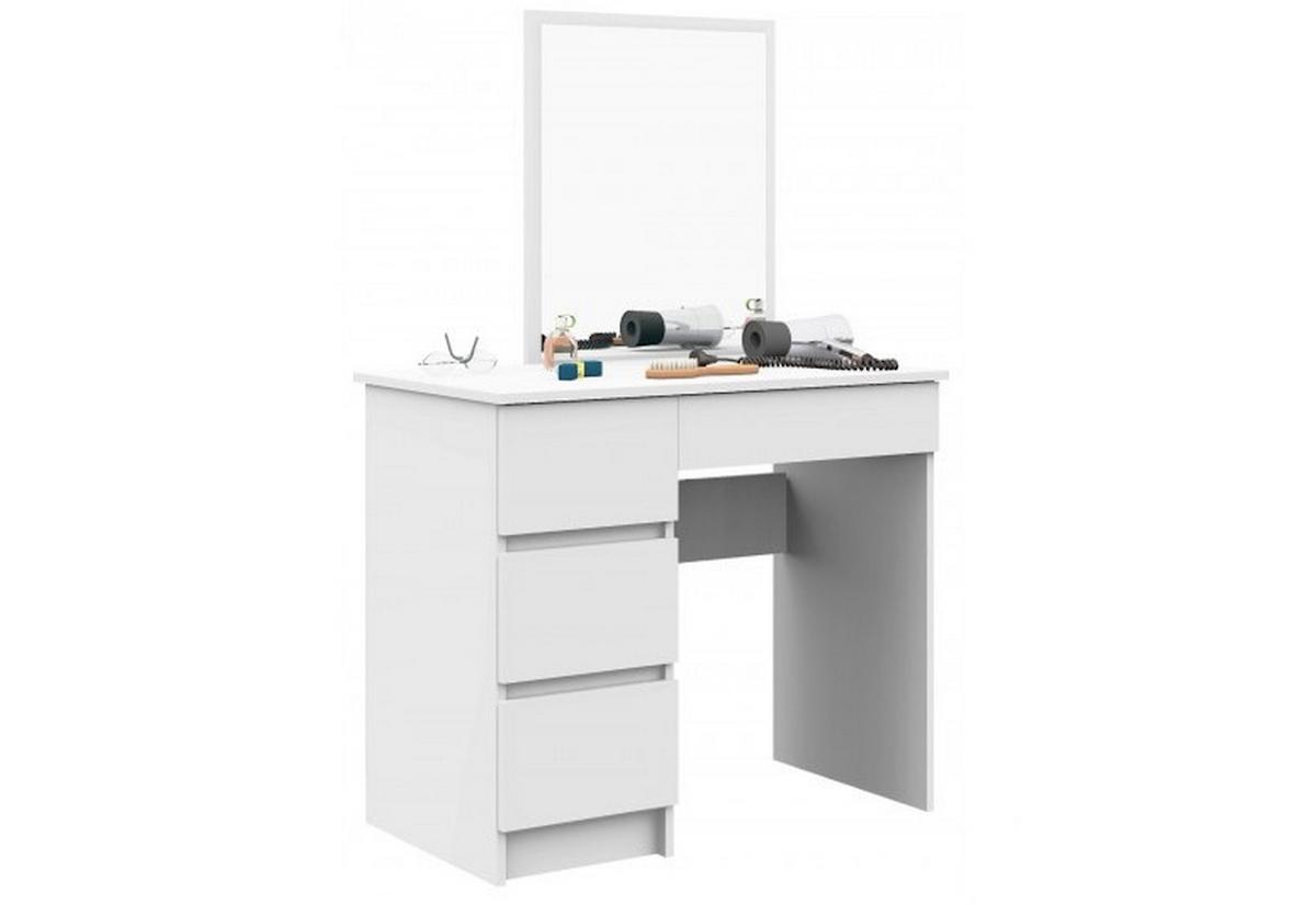 Toaletní stolek SPLIT T6, 90x72/142x50, 500x600, bílý, levý