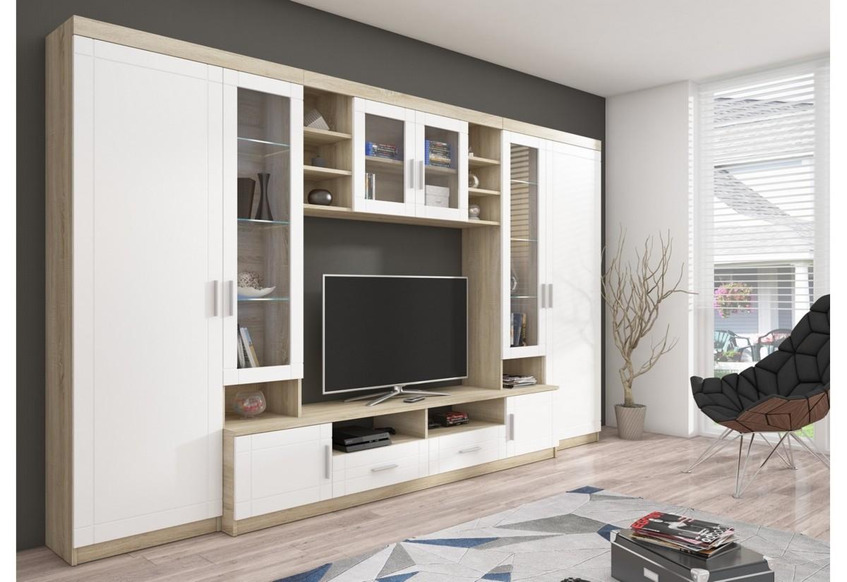 Obývací stěna DIJON, 340x198x44, sonoma/bílá